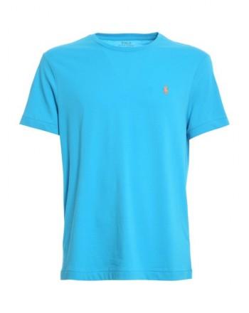 POLO RALPH LAUREN  - T-Shirt in jersey Custom Slim - Turchese
