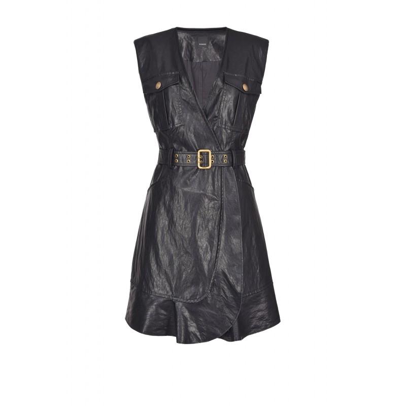 PINKO - ATTIVO washed leather-look dress - Black