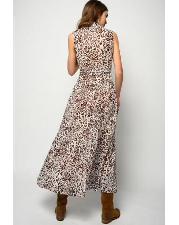 FAY - DRESS WITH BELT - DARK OLIVE