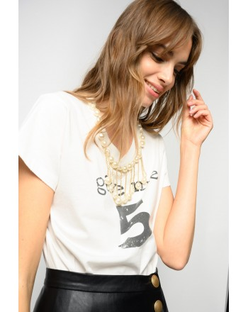 PINCO - ESTROVERSO GIVE ME 5 T-SHIRT WITH PEARLS - WHITE