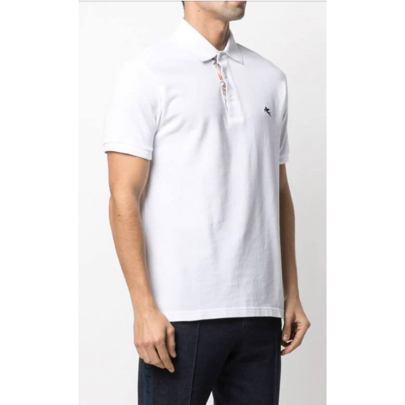 ETRO - Piquet polo shirt with embroidered Pegasus - White