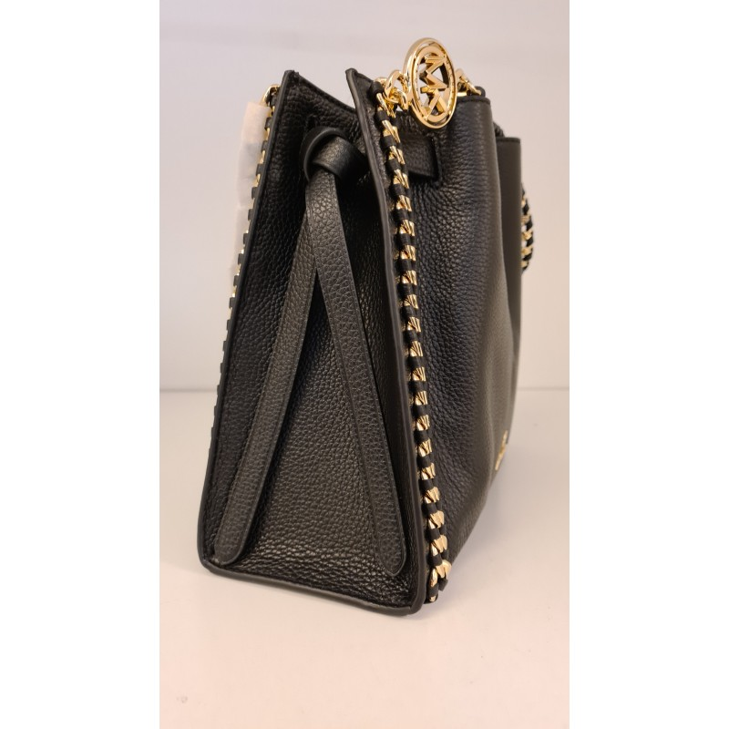 MICHAEL by MICHAEL KORS - MINA Pounded Leather Bag - Black