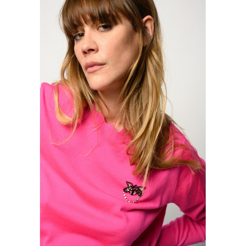 PINKO - PULLOVER WITH LOVE BIRDS JEWEL EMBROIDERY -FUCSIA