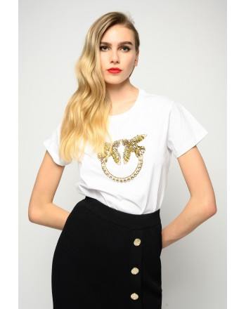 PINKO - QUENTIN 1 LOVE BIRDS EMBROIDERY T-SHIRT - WHITE/ YELLOW