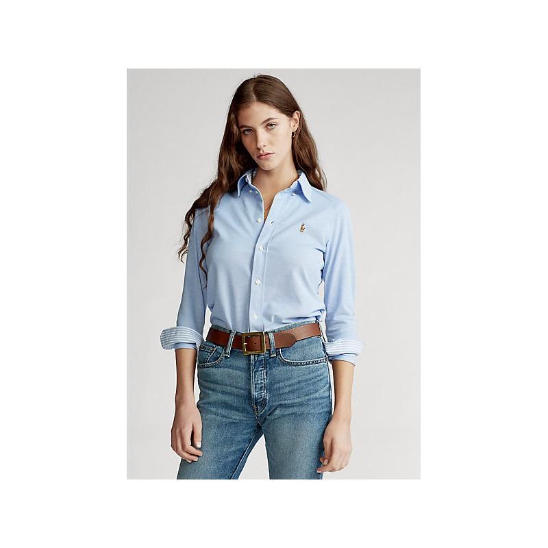 POLO RALPH LAUREN  -   Camicia Jersey Slim - Celeste -