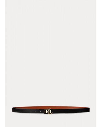 POLO RALPH LAUREN  - 2 Cm Belt - Black/Lauren Tan -