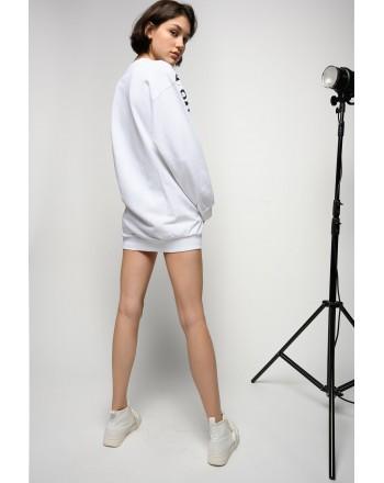 PINKO - DIZIONE NO PINKO NO PARTY FLEECE DRESS - WHITE