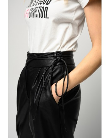 PINKO - RAPITO LEATHER-LOOK TROUSERS WITH NARROW BELT - BLACK