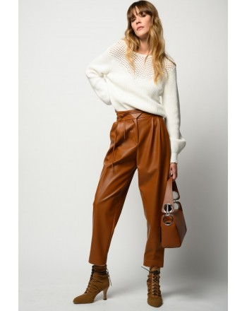 PINKO - RAPITO LEATHER-LOOK TROUSERS WITH NARROW BELT - BROWN