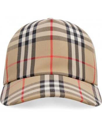 BURBERRY - Cappello check baseball - beige