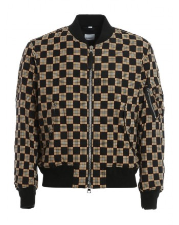 BURBERRY - Bomber a scacchiera - Beige