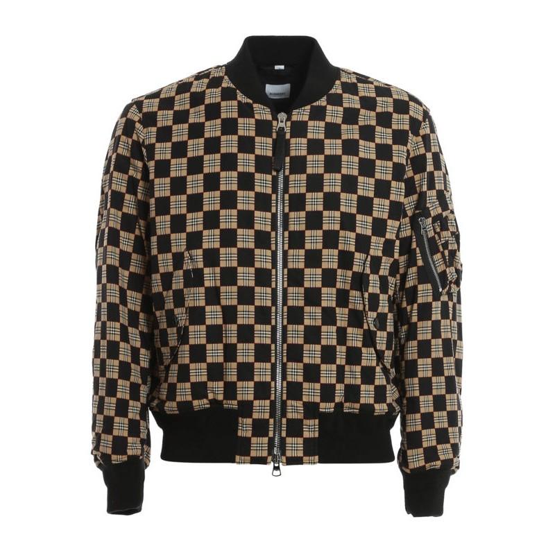 BURBERRY - Checkerboard bomber jacket - Beige