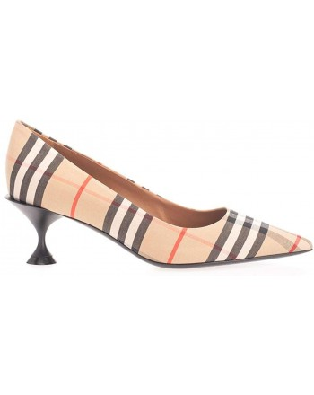 BURBERRY - Pointed Decollete in cotton with vintage check motif