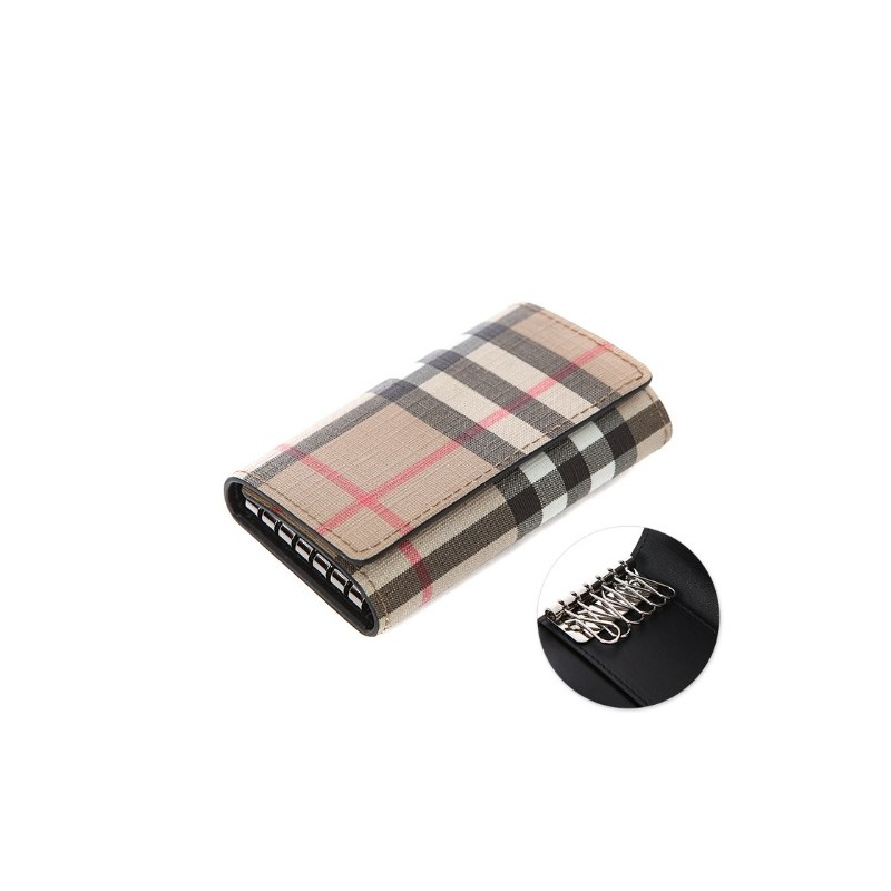 BURBERRY - Snap-Buttoned Check Key Wallet - Beige