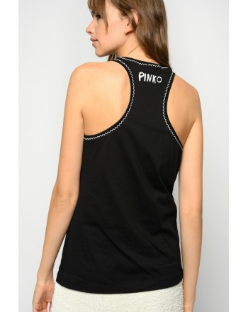 PINKO - ECLETTICO TANK TOP EMBROIDERED NUMBER - BLACK