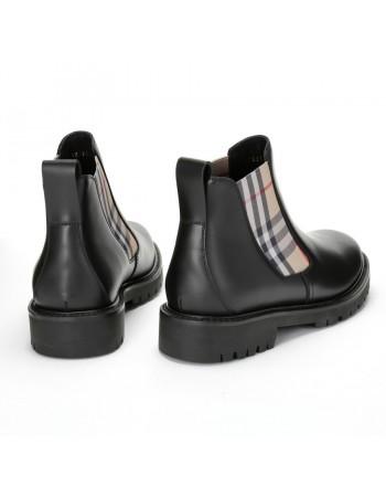 BURBERRY - Vintage Check detail chelsea boots - Black