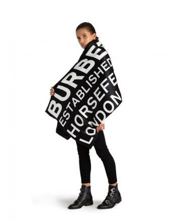 BURBERRY - Sciarpa con Stampa  All Over - Nero/Bianca -