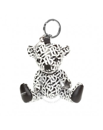 BURBERRY -  Thomas Bear Keychain in Leather with Monogram Print - White / Black -