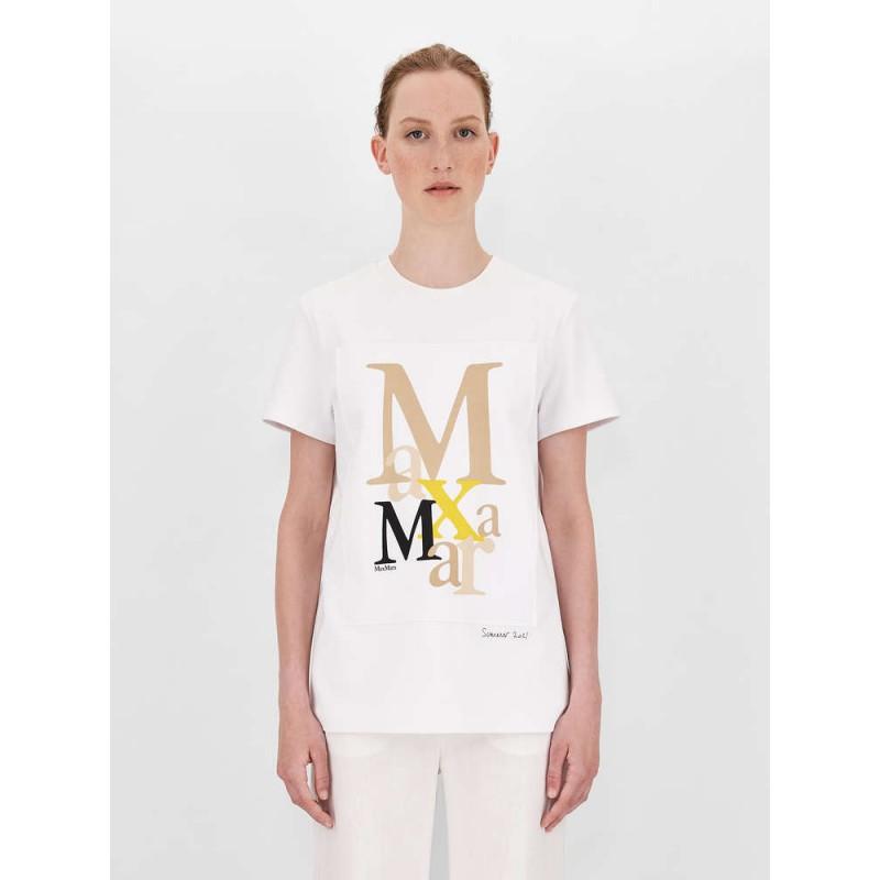 MAX MARA - T-Shirt HUMOUR - Bianco/Cammello/Giallo