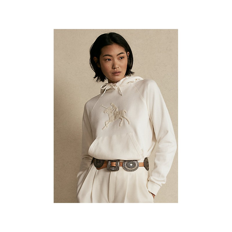 POLO RALPH LAUREN  -  Hooded Sweatshirt and embroidery - Ivory -