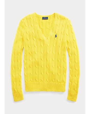 POLO RALPH LAUREN  - V- neck cable knit Sweater - Yellow -
