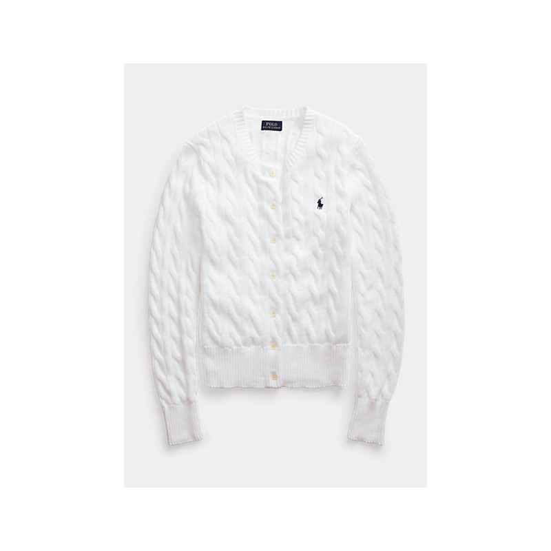POLO RALPH LAUREN  - Cable Knit Cardigan - White -
