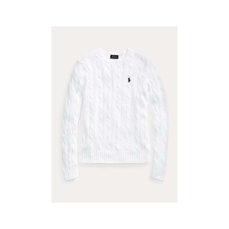 POLO RALPH LAUREN  -Cotton Slim Fit Sweater-  Bianco -