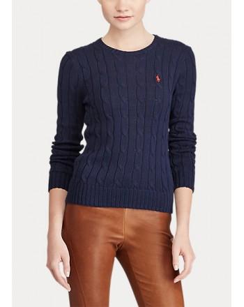 POLO RALPH LAUREN  - Crewneck Sweater Cable Knit- Blue -