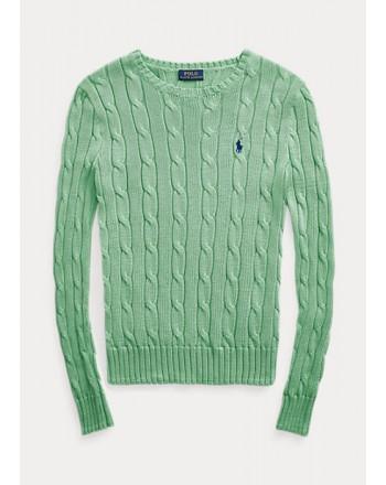 POLO RALPH LAUREN  - Crewneck  Slim fit Sweater  -Bud Green -