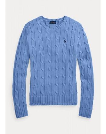 POLO RALPH LAUREN  - Cable Knit Crewneck Slim Fit  Sweater  - Pale Blue-