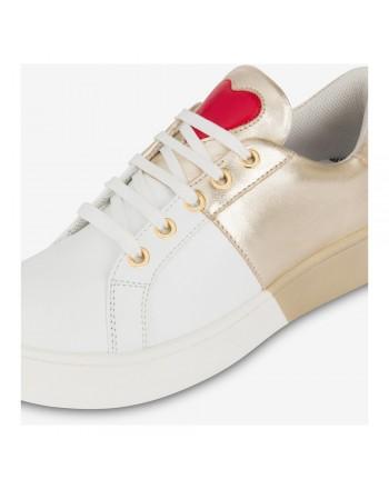 LOVE MOSCHINO - Sneakers con logo posteriore -Bianco/Oro