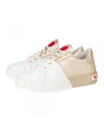 LOVE MOSCHINO - Backside Logo Sneakers  - White/Gold