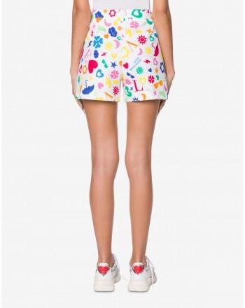 LOVE MOSCHINO - Shorts in Piquet Stretch ALLOVER SYMBOLS - Bianco/Multicolor