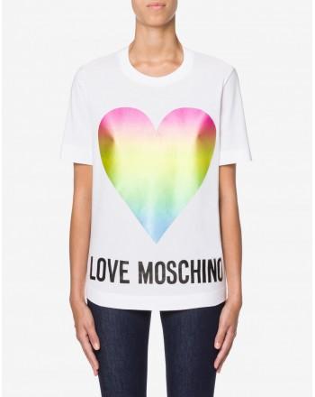 LOVE MOSCHINO - Heart Cotton T-Shirt - White