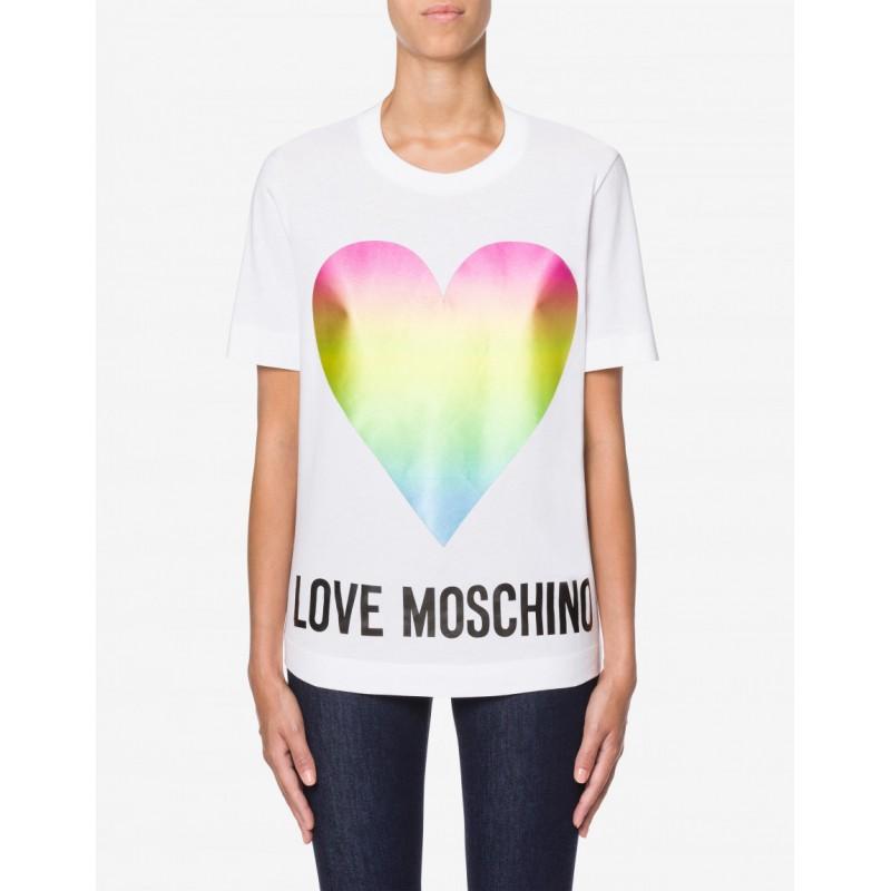 LOVE MOSCHINO - T-Shirt in Cotone con Cuore- Bianco