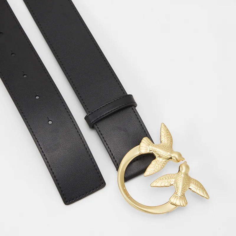 PINKO - Cintura in Pelle BERRY Simply 12 - Nero