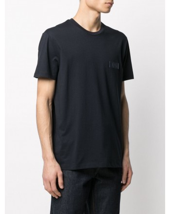 FAY - Fay Print T-Shirt on the Chest - Navy Blue