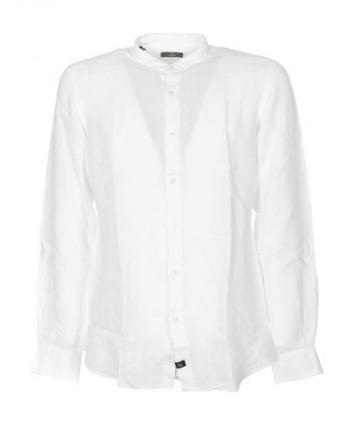 FAY  -  Garment Dyed Korean Neck Shirt - White