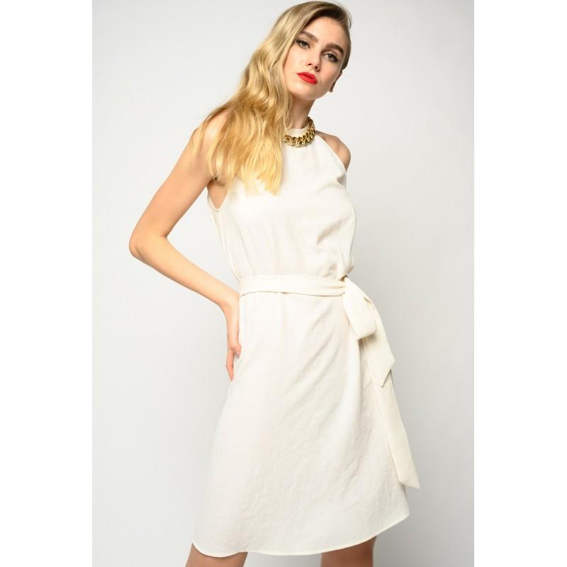 PINKO - RIPOSATO Stretch crepe dress - White