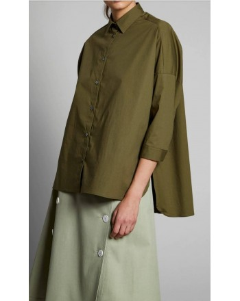 FAY - Camicia Over - Oliva scuro