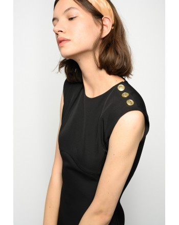 PINKO - INSICURO SHEATH DRESS WITH GOLD BUTTONS - BLACK