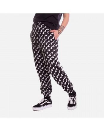 LOVE MOSCHINO- Pantalone Stampa All Over Drops - Bianco/Nero