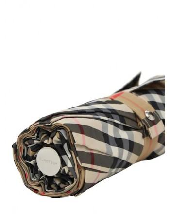 BURBERRY - Check folding umbrella - Beige