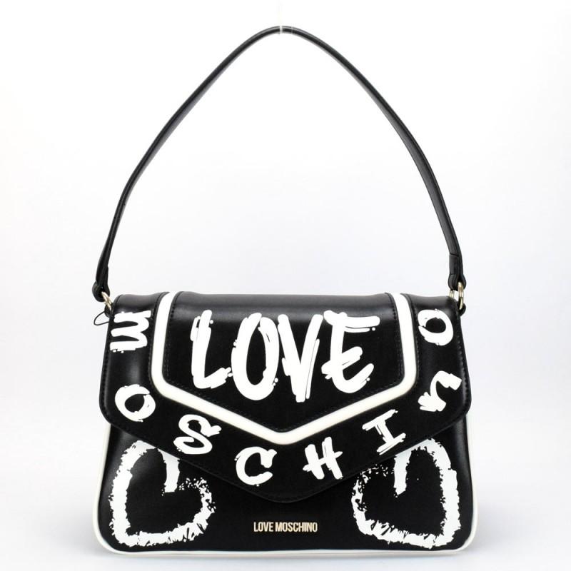 LOVE MOSCHINO - Borsa a Spalla con Logo Graffiti - Nero/Bianco