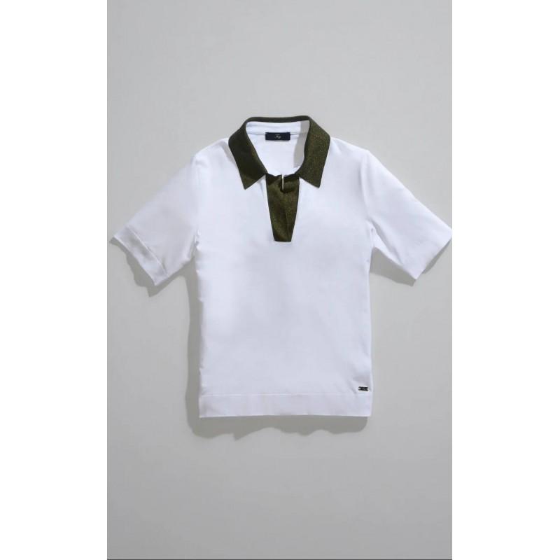 FAY - Polo collo Lurex - Bianco