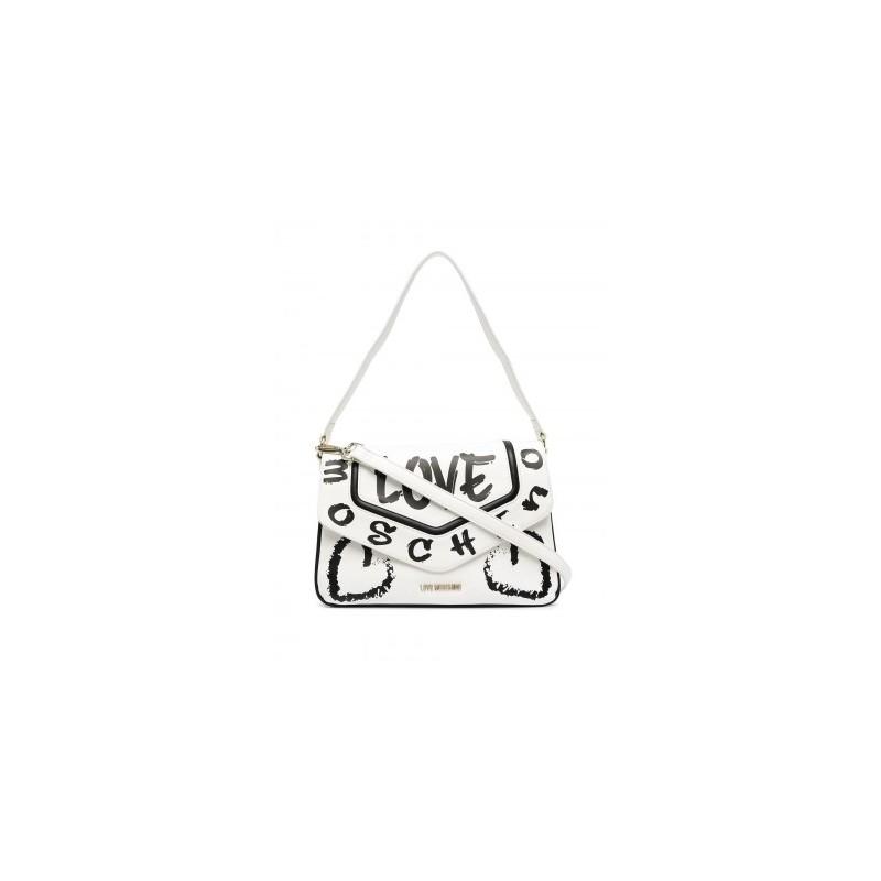 LOVE MOSCHINO - Graffiti Logo Shoulder Bag - White/Black