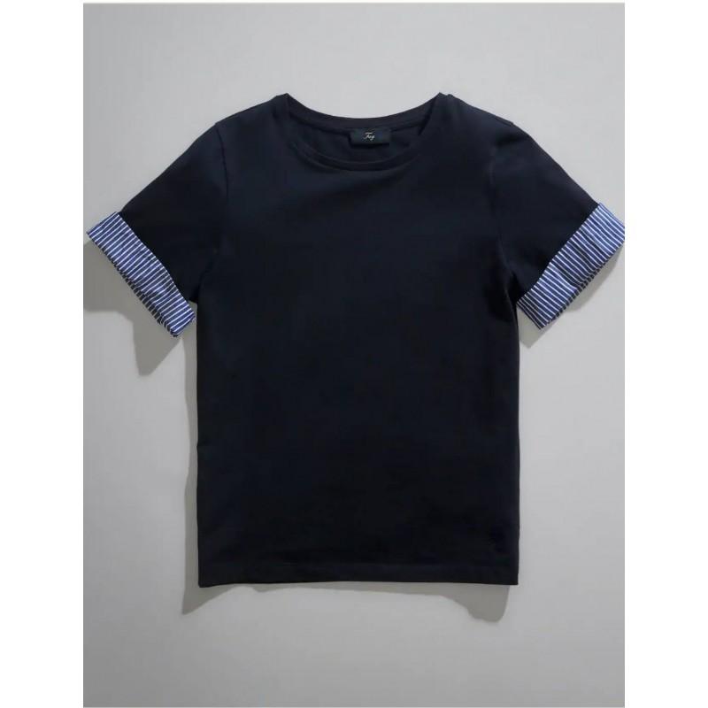 FAY - Striped sleeve T-shirt - Navy