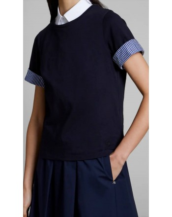 FAY - T-shirt manica righe -  Navy
