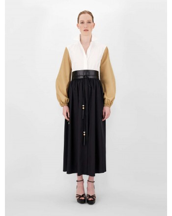 MAXMARA - Cotton poplin dress - White / Black / Camel