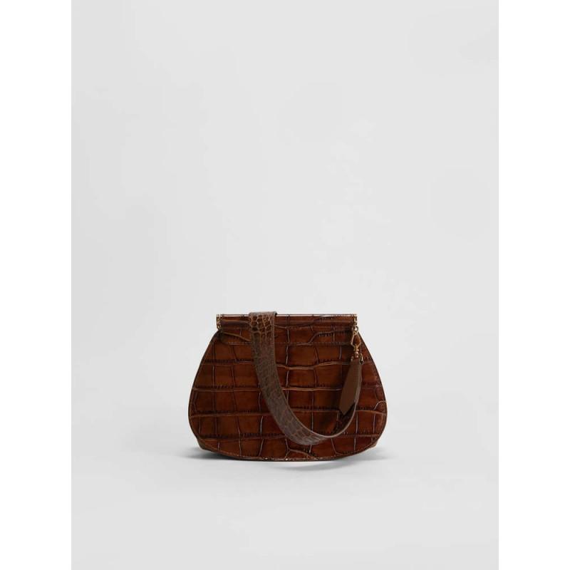 MAX MARA - Crocodile print leather shoulder bag - Leather -